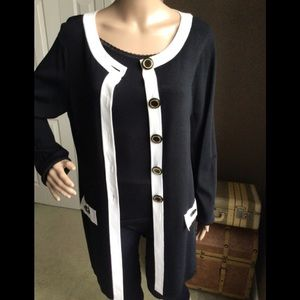 Cable & Gauge Top Black and White Jacket or Top